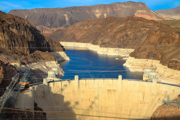 Hoover Dam in United States. Hydroelectric power station on the border of Arizona and Nevada stock photo