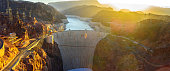 Panoramic View of Hoover Dam in the morning  Nevada