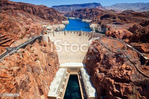 Hoover Dam on the border of Arizona and Nevada, USA.