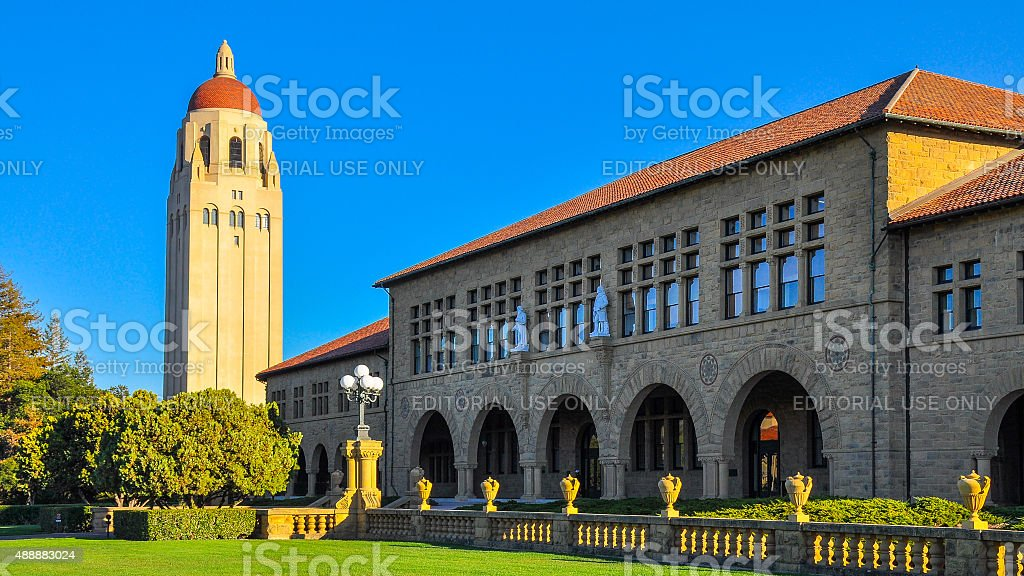 Hoover Tower, Stanford University, Palo Alto, CA stock photo