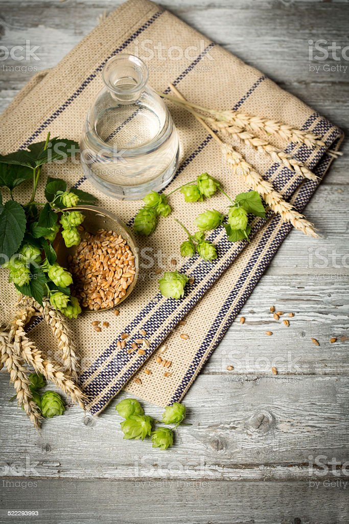 Hop flowers, wheat ears and seeds, water. ingredients for brewing stock photo