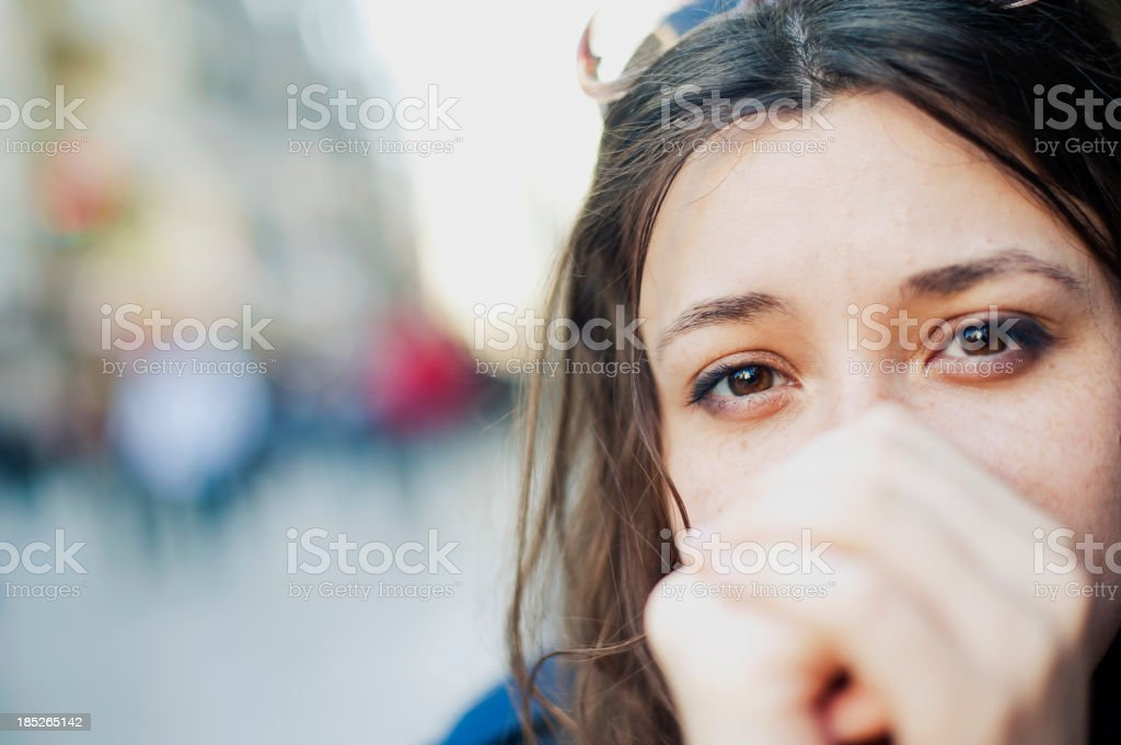 "Hope and Hopelessness ""Pensive young woman portrait, outdoors."" 20-24 Years Stock Photo"