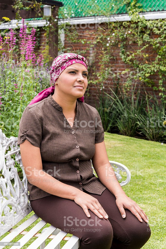 Hope expression in a Latin cancer patient stock photo