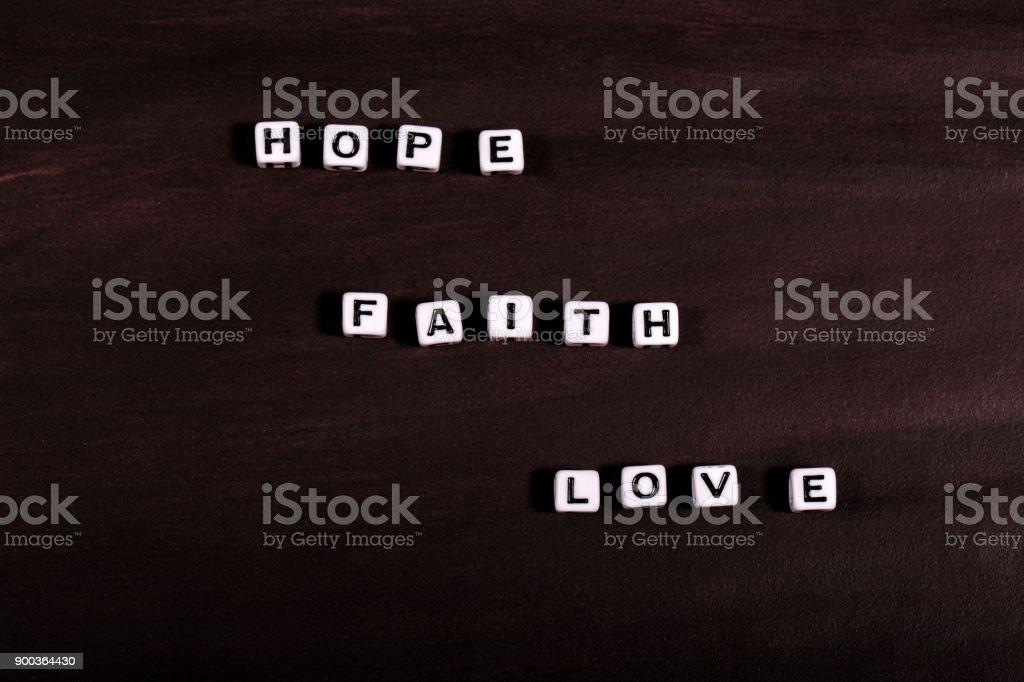 Hope Faith Love Words stock photo