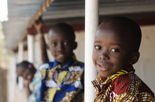Hope for African Children - Beautiful boys and girls outdoors stock photo