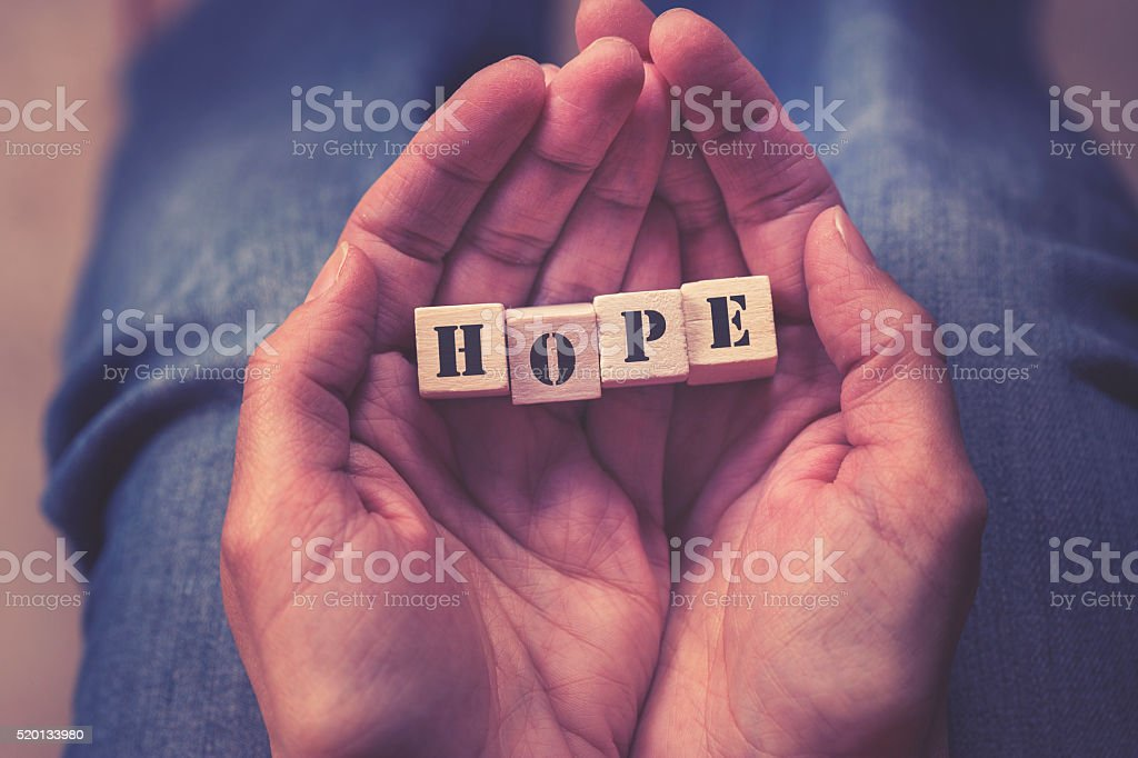 Hope message formed with wooden blocks stock photo