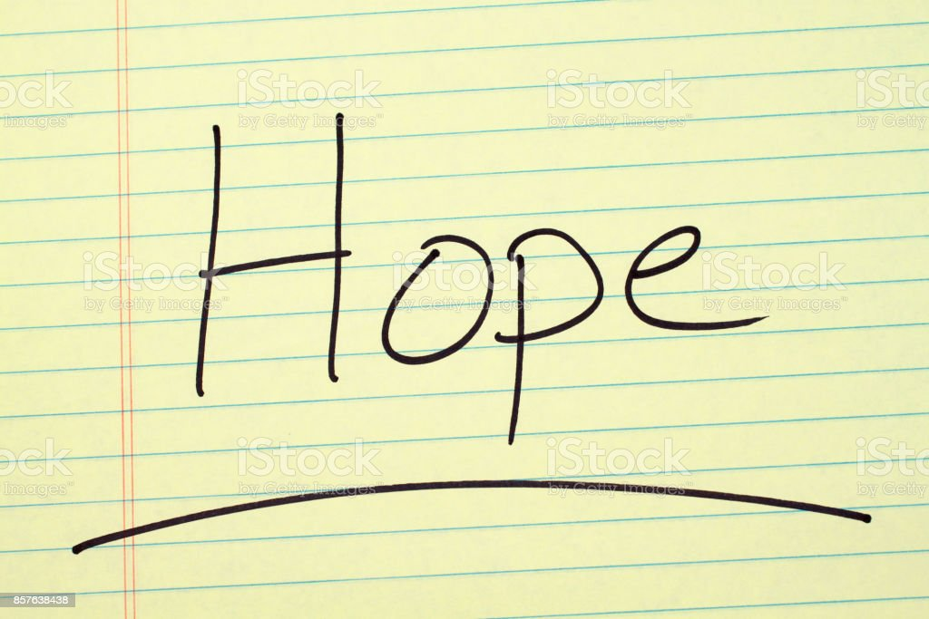 Hope On A Yellow Legal Pad stock photo