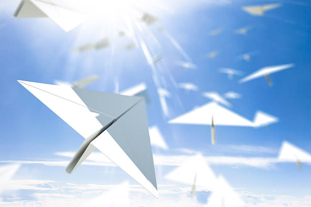 hope - paper airplane stock photos and pictures