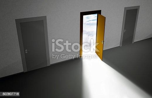 open door to cloudy sky