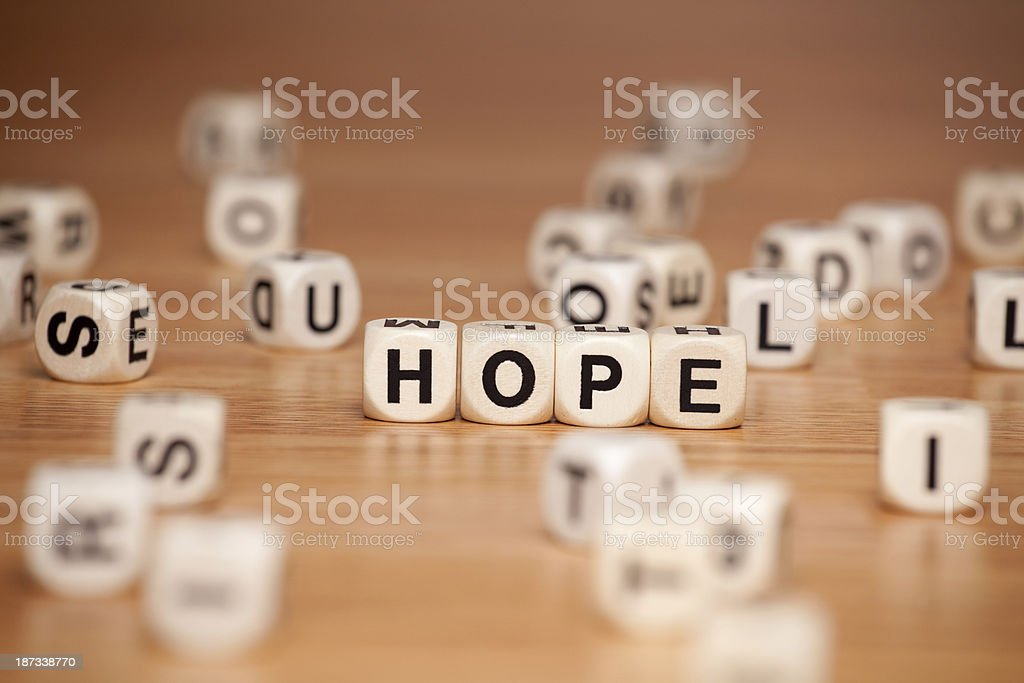 Hope Spelled In Letter Cubes royalty-free stock photo