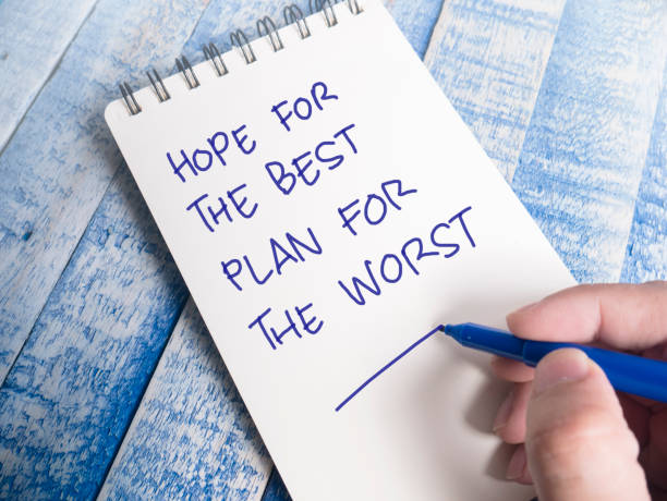 Hope The Best, Plan Worst, Motivational Inspirational Quotes Hope The Best, Plan Worst, motivational inspirational quotes, words typography top view lettering concept emergency response stock pictures, royalty-free photos & images