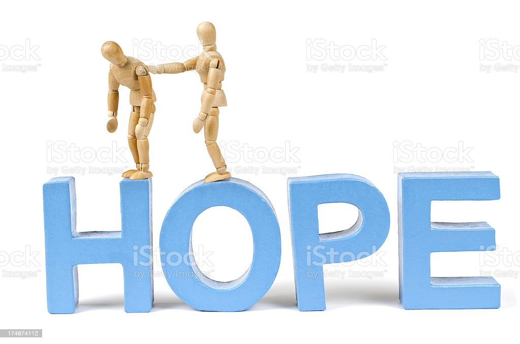 Hope - Wooden Mannequin demonstrating this word stock photo