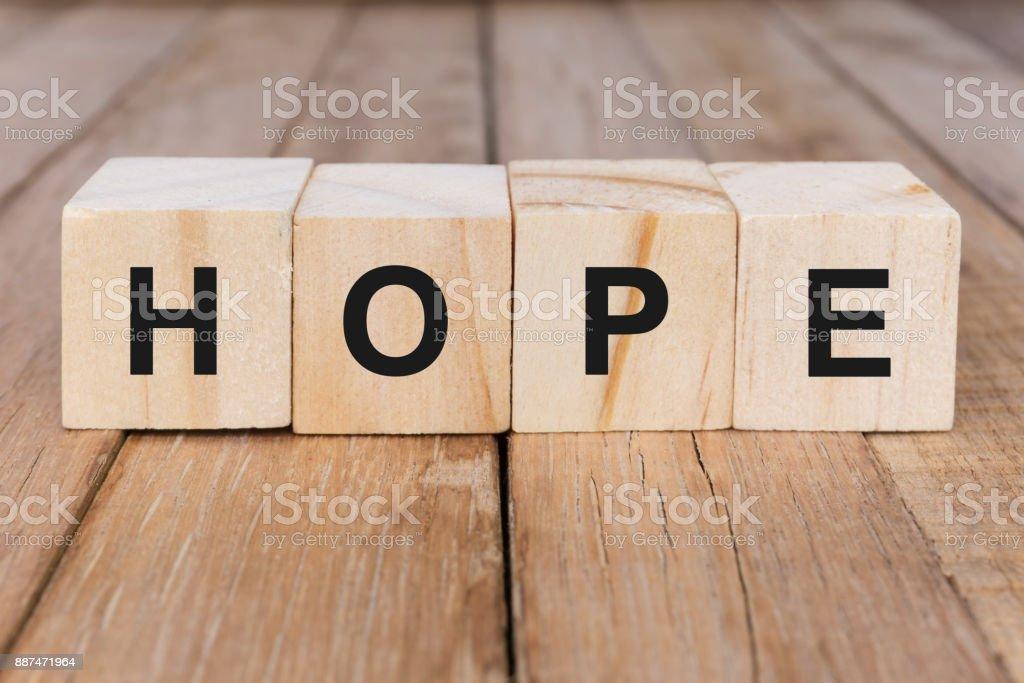 Hope Word on Wooden Block stock photo