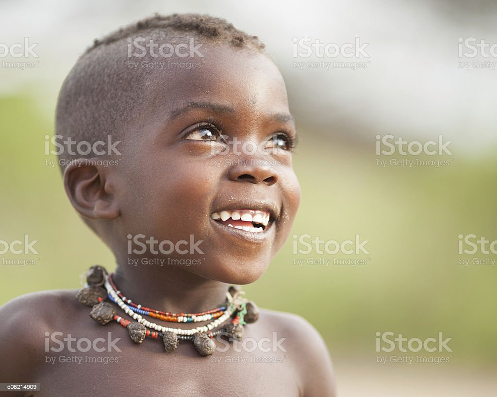 Hopeful African Boy stock photo