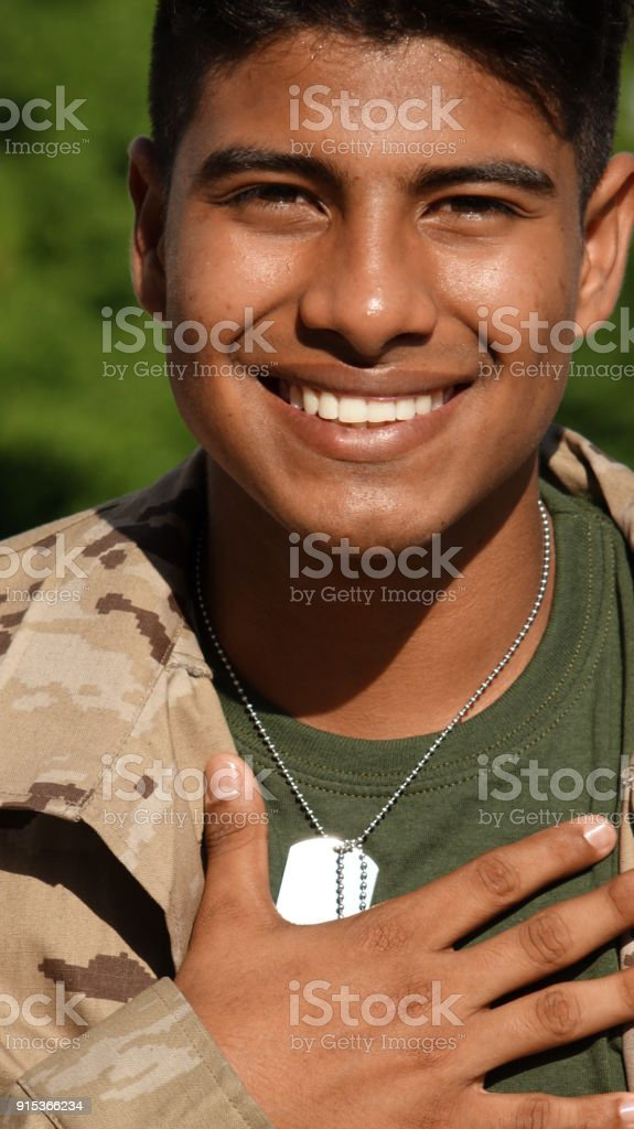 Hopeful Minority Male Soldier stock photo