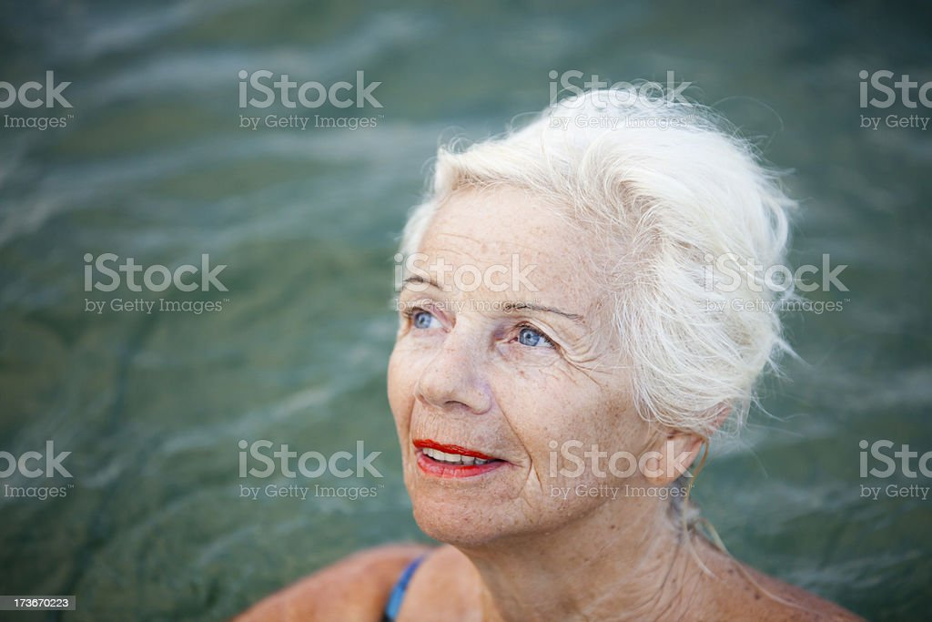 Hopeful Senior Swimmer royalty-free stock photo