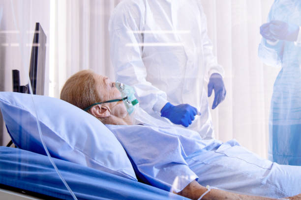 Hopeless mood on Infected covid19 patient stock photo