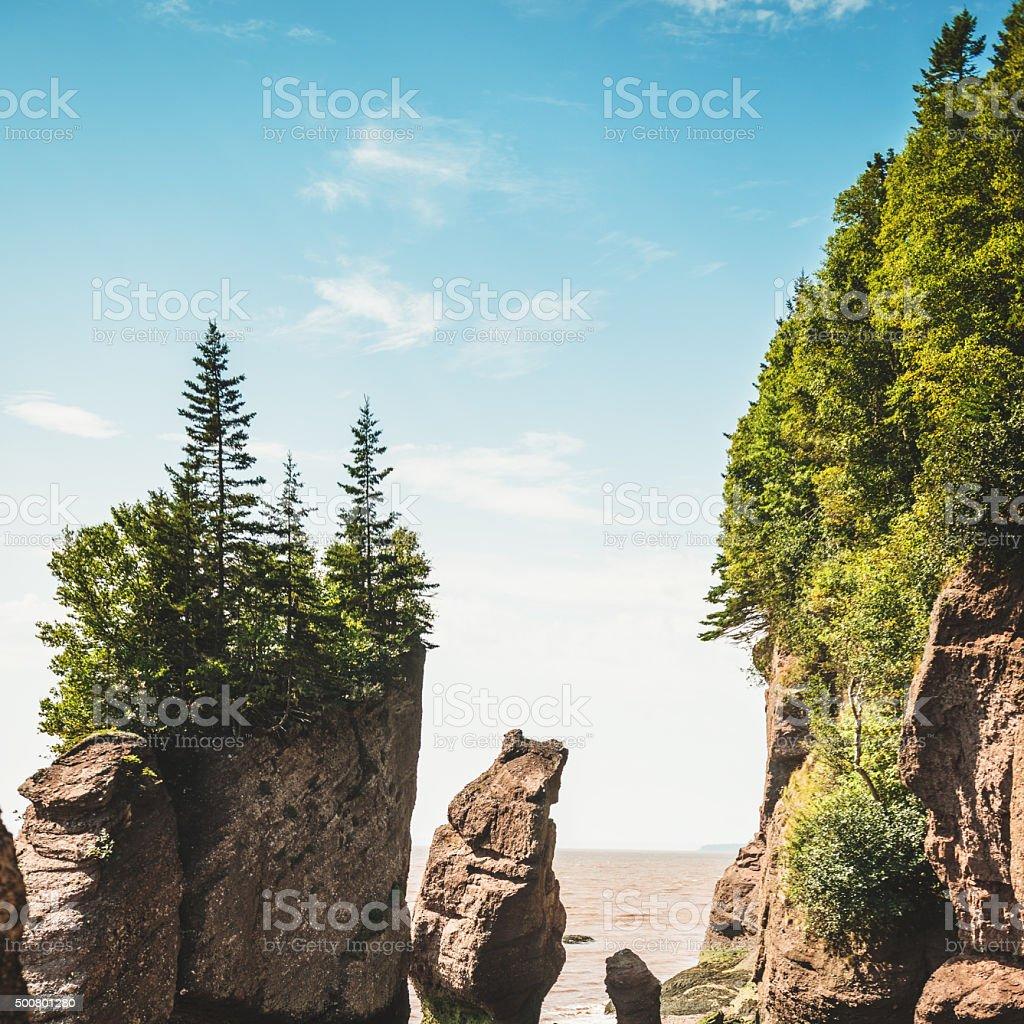 Hopewell rocks in New Brunswick stock photo