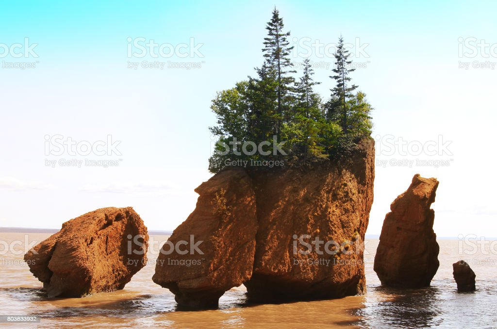 Hopewell Rocks in the Bay of Fundy, New Brunswick, Canada in the muddy water at high tide stock photo