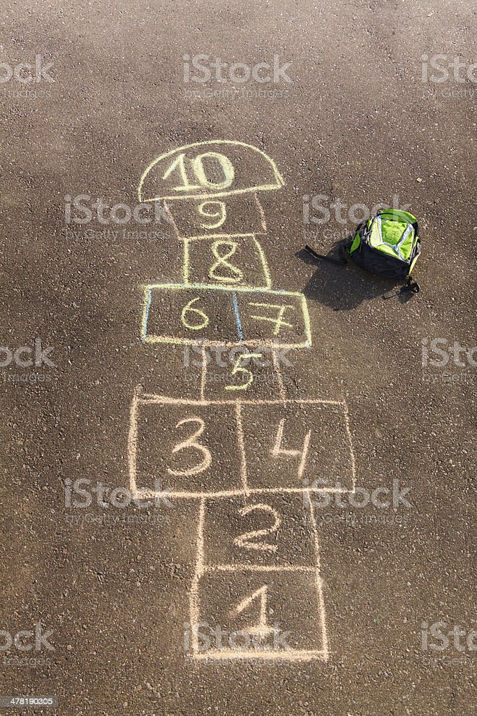Hopscotch game drawn on the asphalt stock photo