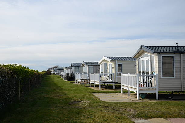Hopton on Sea caravan site a beautiful beach view at hopton on sea on a lovely spring day trailer park stock pictures, royalty-free photos & images