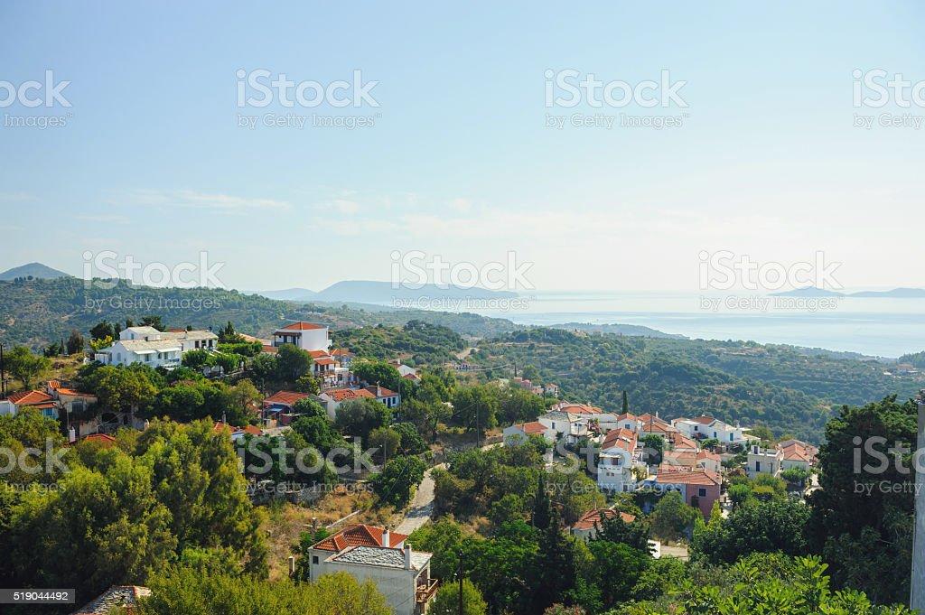 Hora village, Alonissos stock photo
