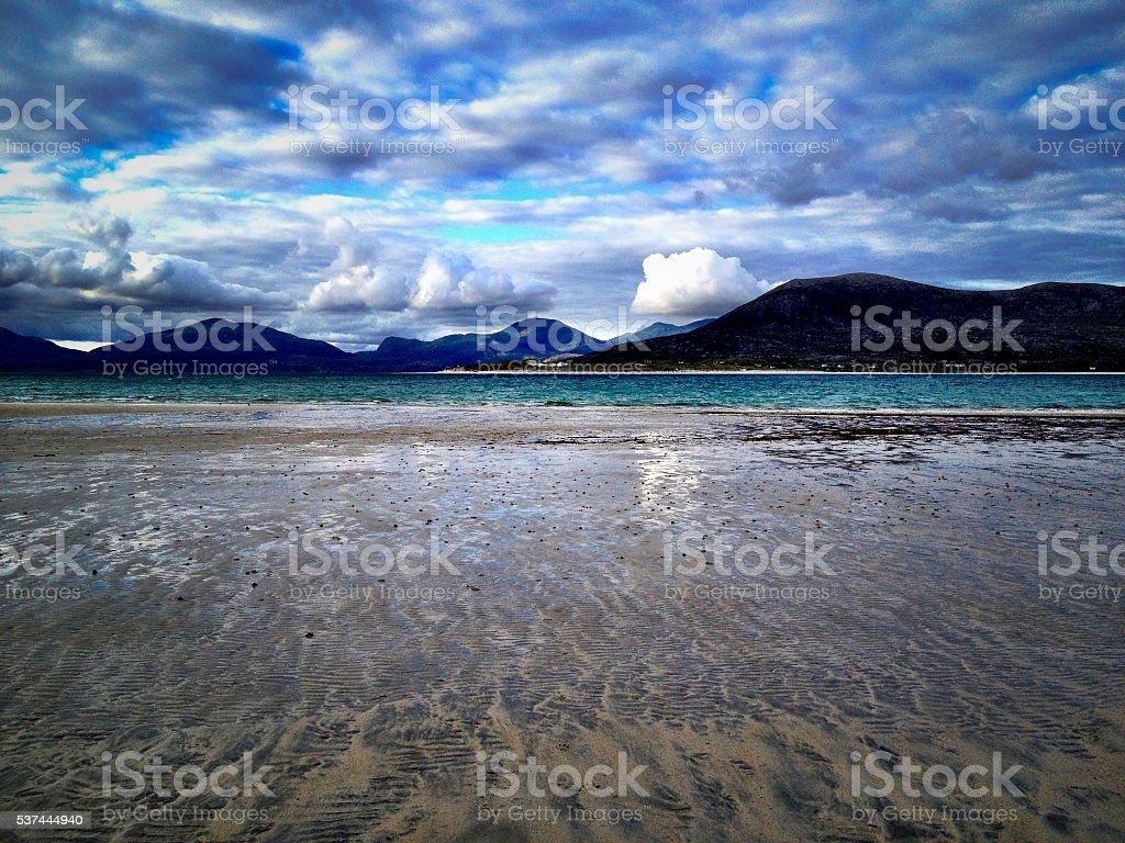 Horgabost Beach, Isle of Harris, looking towards Taransay, Scotland stock photo