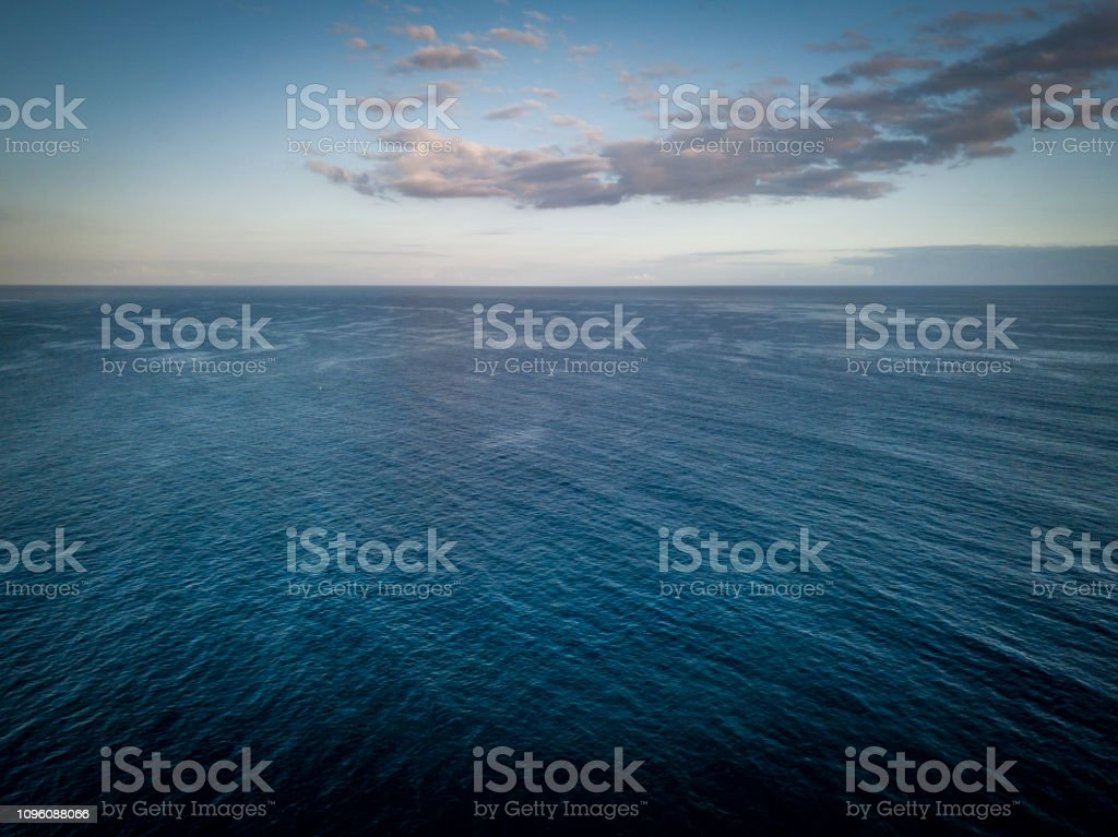 horizon over water drone point of view, indian ocean at la reunion...