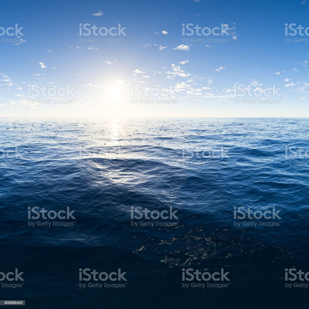 Digitally generated deep blue ocean with beautiful sky.
