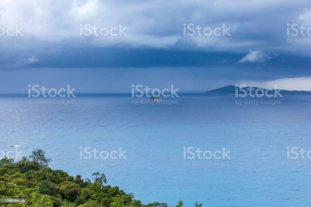 tropical storm at praslin island, mascarene islands, seychelles...