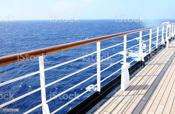Horizon View From Empty Cruise Ship Deck On A Sunny Day Stock Photo - Download Image Now