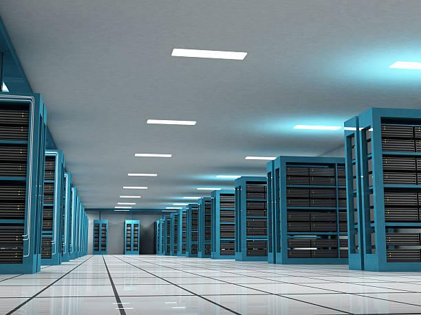 Horizon view of Extensive Internet server rooms stock photo