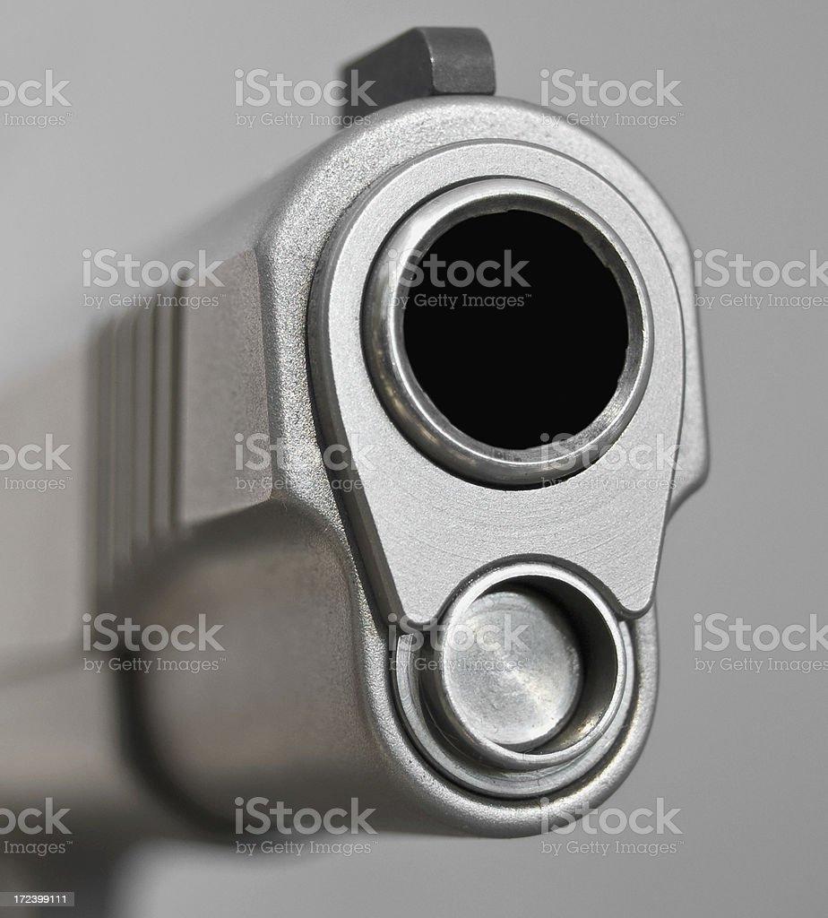 Horizontal 45 Caliber Stainless Steel Handgun royalty-free stock photo