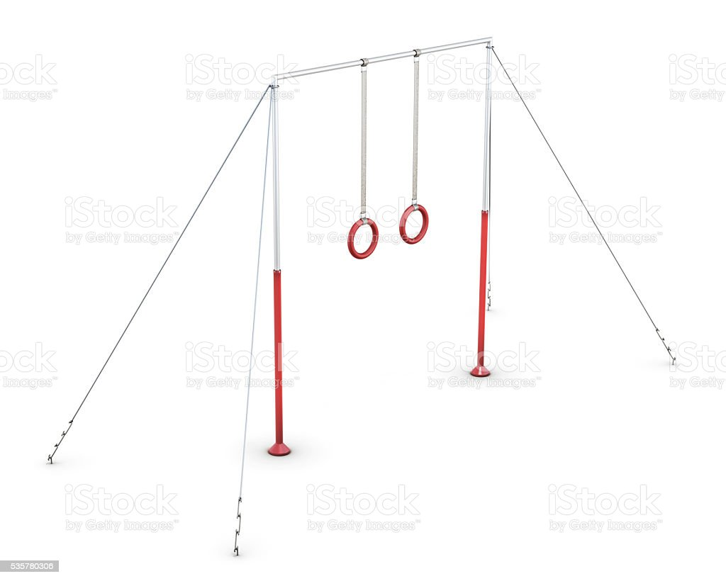 Horizontal bar with rings on white background. 3d rendering stock photo