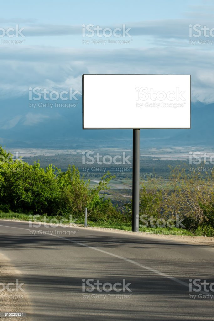 Horizontal billboard blank for outdoor advertising next to the road....