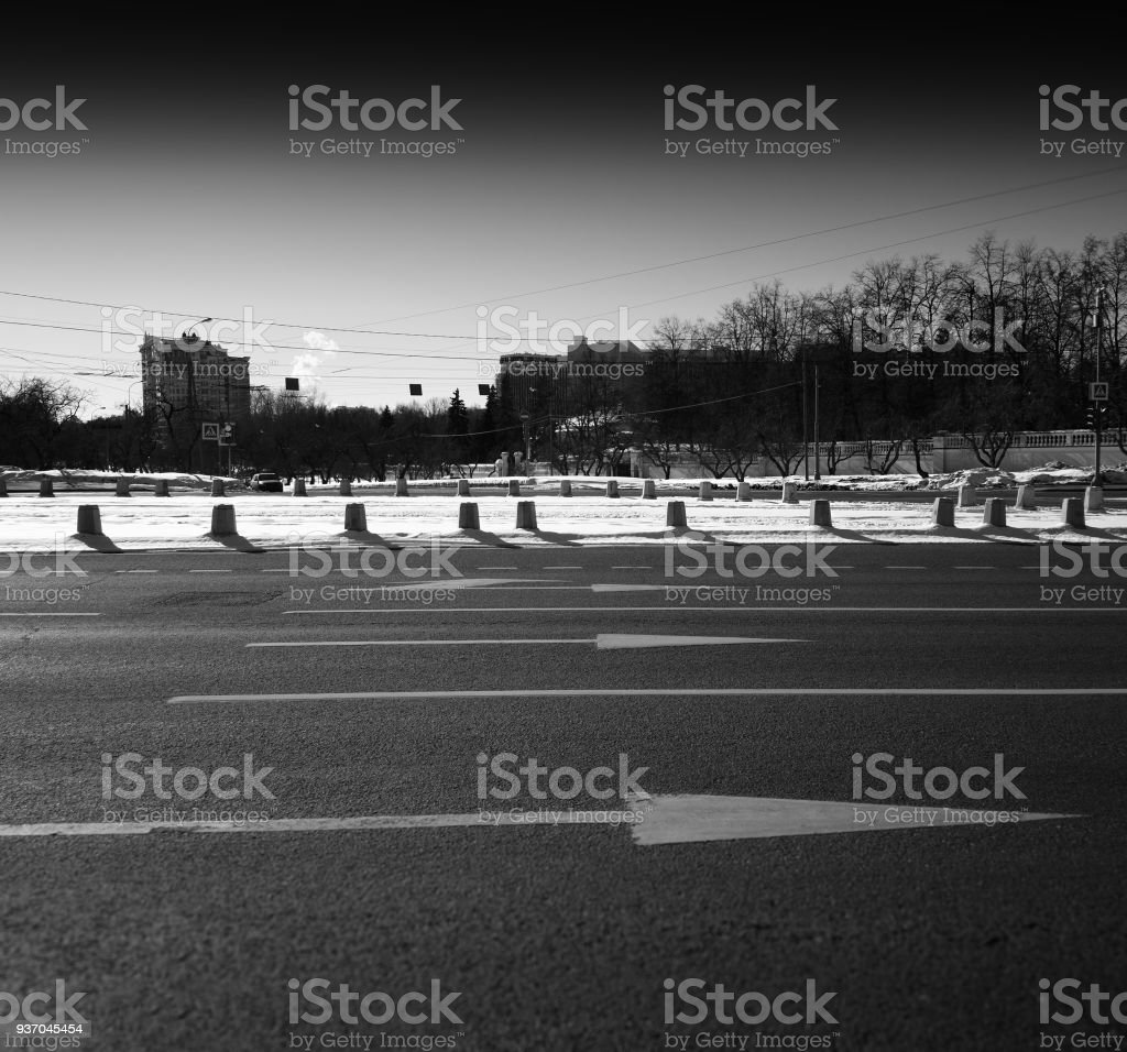 Horizontal Black And White City Road Background Royalty Free Stock Photo