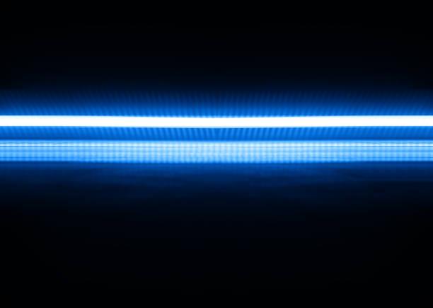 Horizontal blue neon line illustration background stock photo