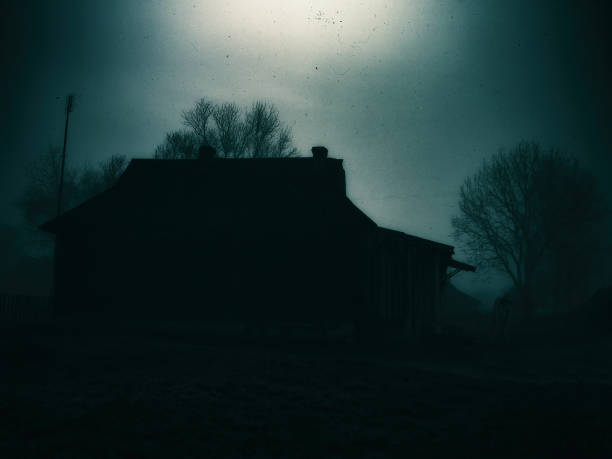 Horizontal classic zombie horror cabin with zombie scary backgro stock photo