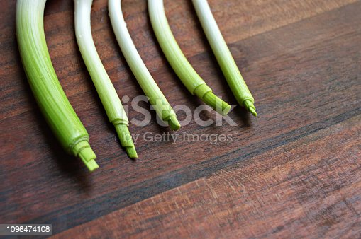 923629650istockphoto Horizontal click of garlic stalks with bright light green color merging into white shade placed side by side over a dark brown wooden board surface 1096474108