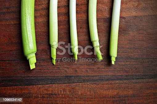 923629650istockphoto Horizontal click of garlic stalks with bright light green color merging into white shade placed side by side over a dark brown wooden board surface 1096534142