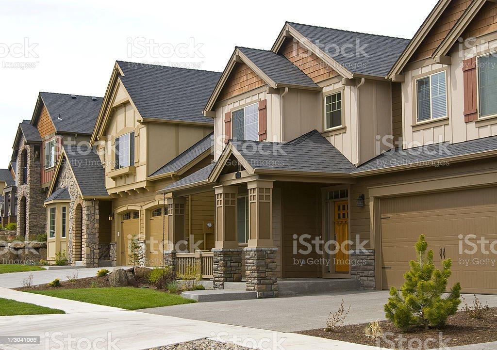 Horizontal close up three row houses royalty-free stock photo