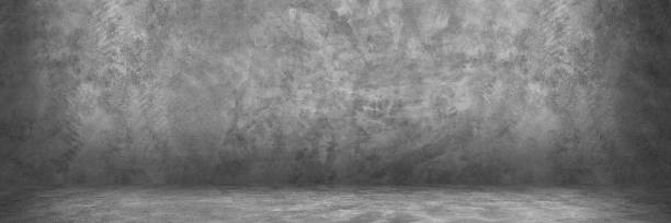 horizontal design on cement and concrete wall with shadow for pattern and background stock photo