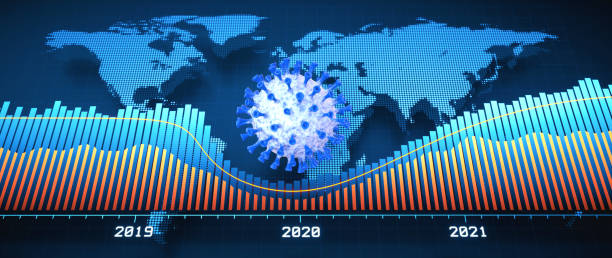 Horizontal digital world map market crash design in blue colors, with infographics, bar graph, year labels and a coronavirus cell in the center. stock photo