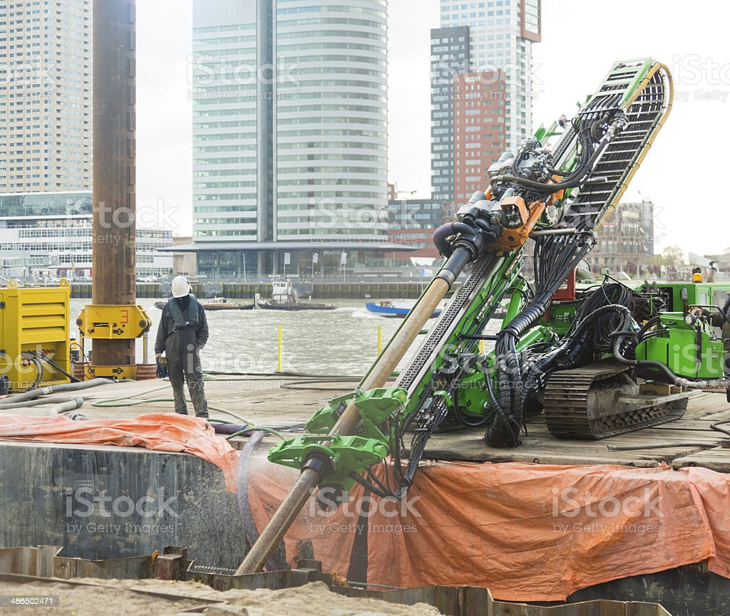 Horizontal directional drilling (HDD)  machinery working in Rotterdam. stock photo
