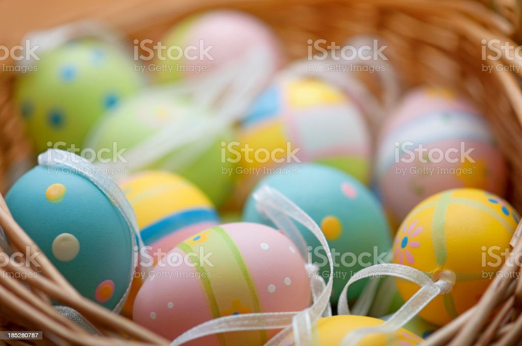 Horizontal Easter eggs in basket stock photo