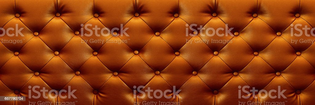 horizontal elegant dark brown leather texture with buttons for background and design stock photo
