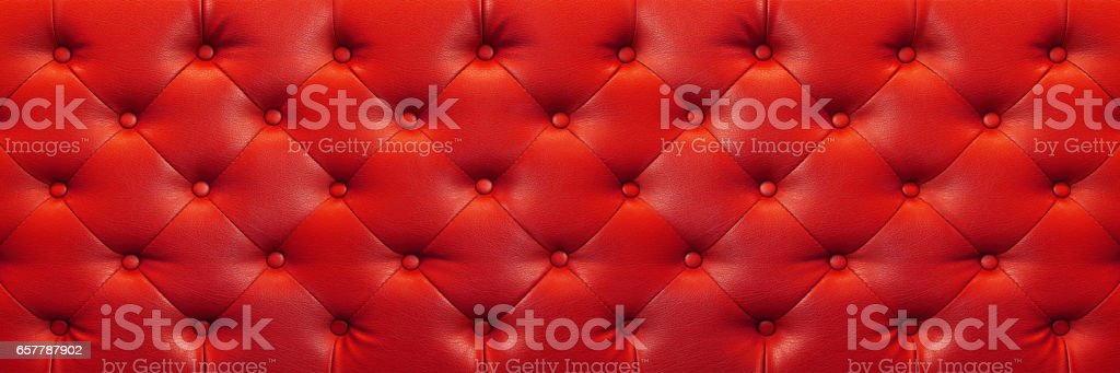 horizontal elegant red leather texture with buttons for background and design stock photo