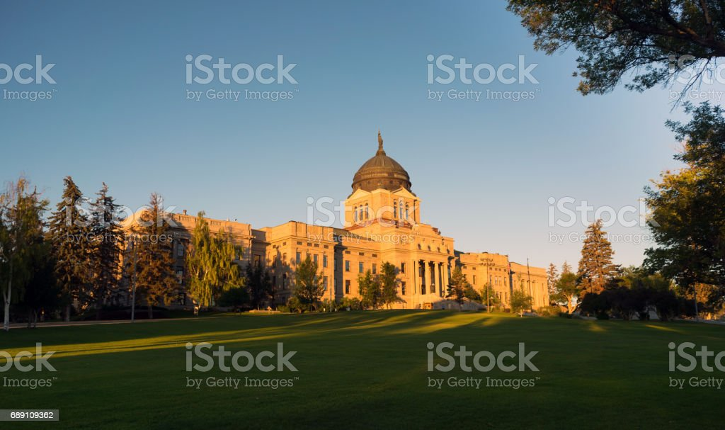 Horizontal Front View Capital Dome Helena Montana State Building stock photo