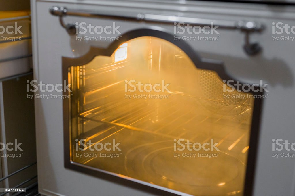 horizontal image of electric kitchen oven on stock photo