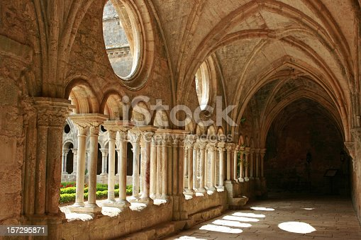 Medieval abbey corridor. Copy space.